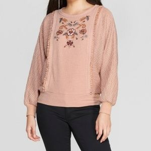 Pink Batwing Long Sleeve Embroidered Front Sweater